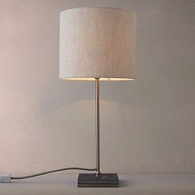John lewis jack slate table lamp bedside light natural linen shade new