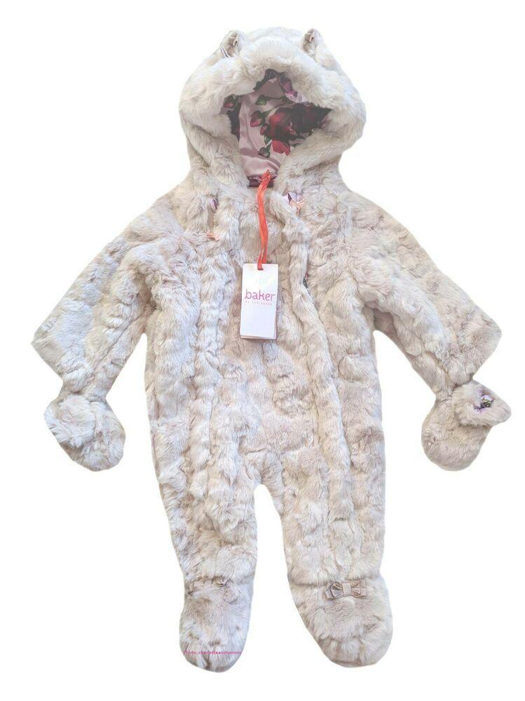 c4fc03959169 Details about Ted Baker Baby Girl Snowsuit Pramsuit Faux Fur Light ...