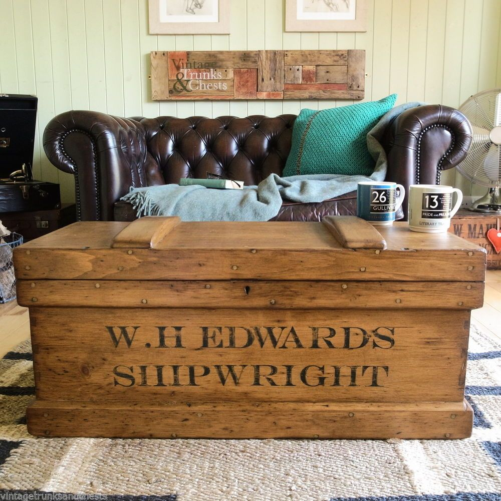 Victorian Pine Coffee Table: ANTIQUE Victorian INDUSTRIAL Shipwright PLANK Tool CHEST