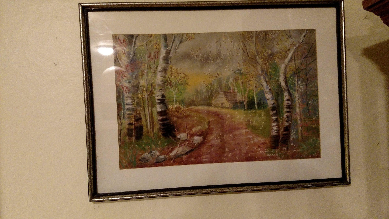 Vintage Pastel Drawing Framed 1940 Wooded Path Spring Etsy Pastel Drawing Drawing Frames Drawings