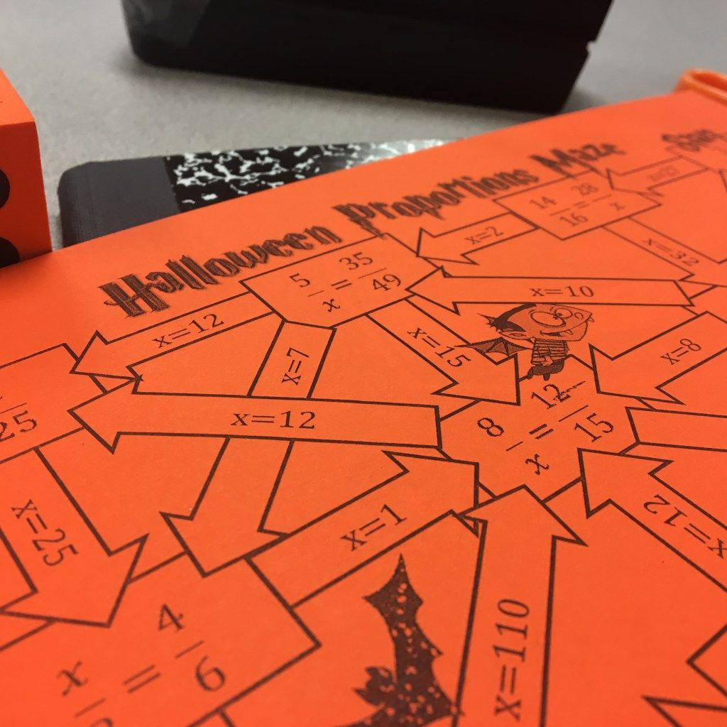 Halloween Math Activity Proportions Maze