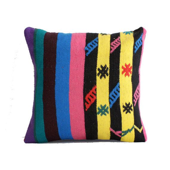 Striped kilim pillow 20x20 large cushion cover big pillow case 50x50