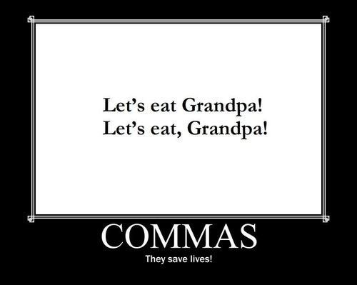 quotes about grammar | comma, commas, funny, gig, grammar, grammer ...
