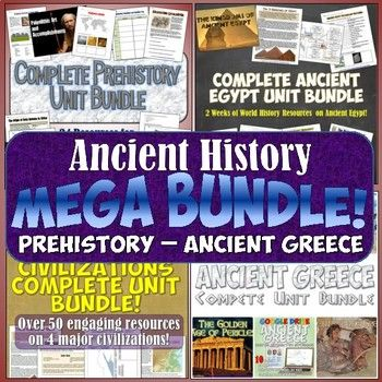 This amazing MEGA-bundle includes 4 complete units for Ancient History together for an incredible money and time saving deal! There's over 120 total resources in this one download! Included in this resource, you get everything in each of these: ★ Prehistory Unit Bundle ★ River...