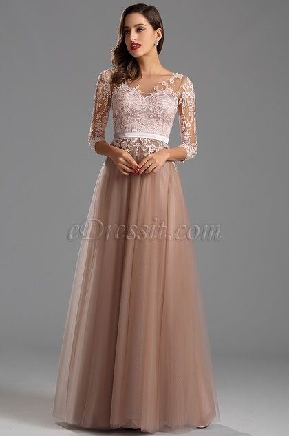Elegant Long Sleeves Illusion Neck Long Formal Evening Dress ...