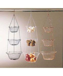 Metro 3 Tier Hanging Kitchen Basket In White   Fruit Storage