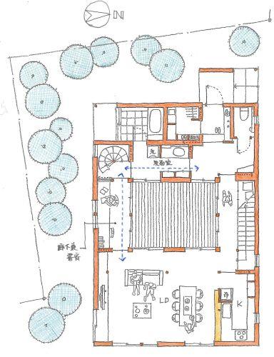 二つの階段で 縦横に回遊する 平面図 間取り 中庭 間取り