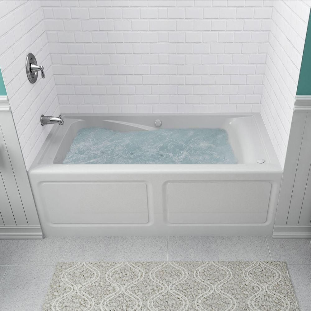 American Standard Everclean 5 Ft X 32 In Left Drain Whirlpool Tub In White 2425lc Lho 020 The Home Whirlpool