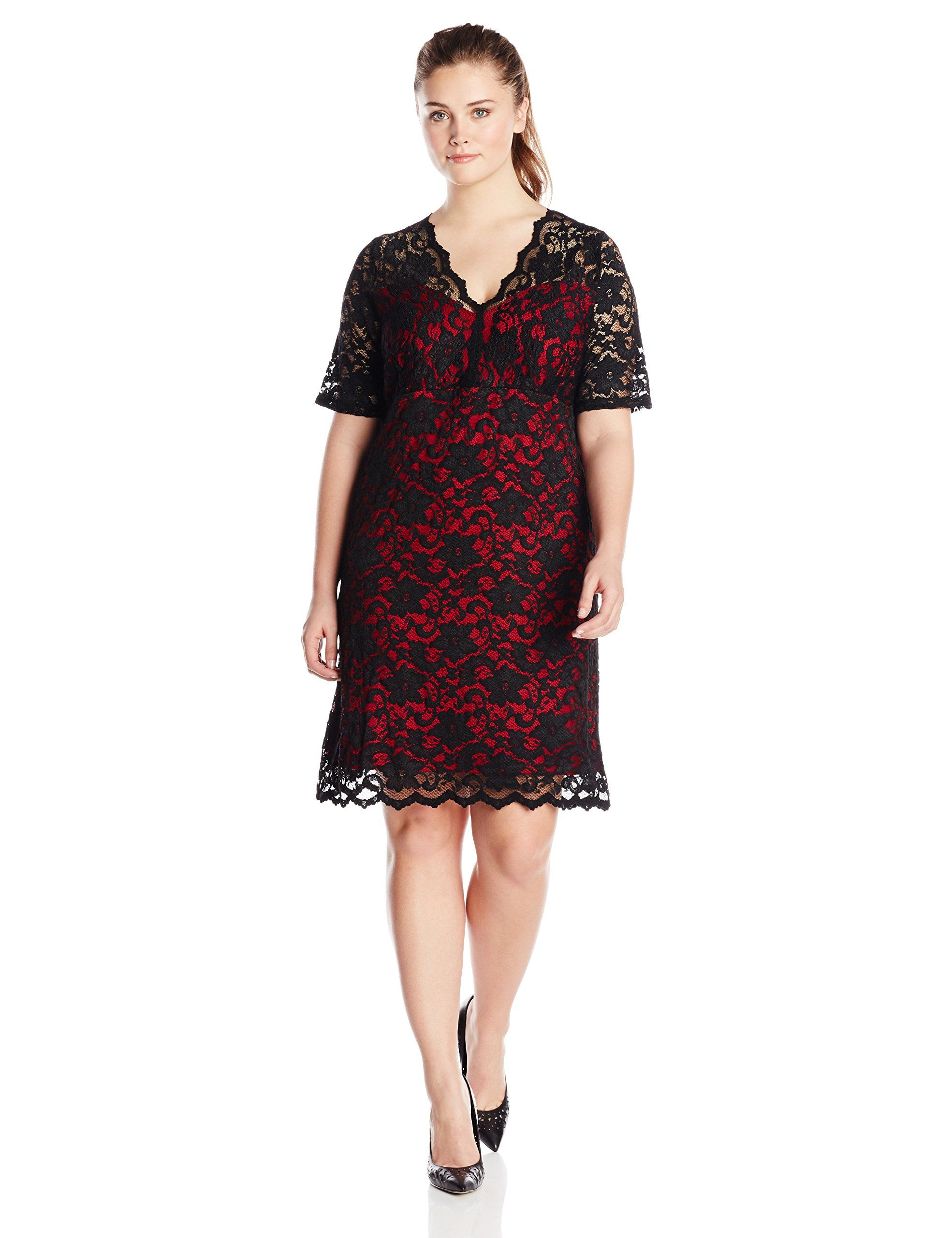 ec3f0f064416 Karen Kane Women s Plus-Size Scallop Red and Black Lace Dress at Amazon  Women s Clothing  Karen Kane  Plus  Plus Size  Fashion  Womens Clothing ...
