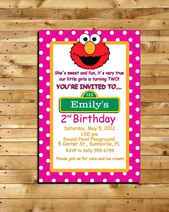 Elmo Custom Made Birthday Invitation For 2 Year Old 4 X 6