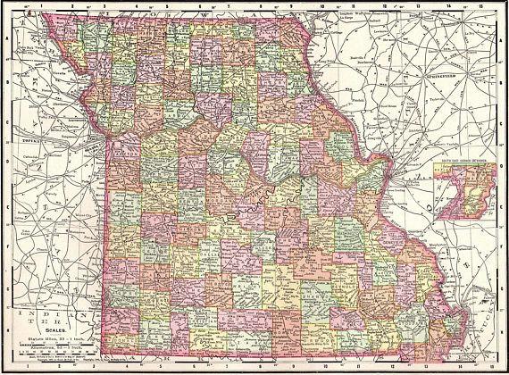 1900 Antique MISSOURI Map Vintage Map of Missouri State Map | United ...