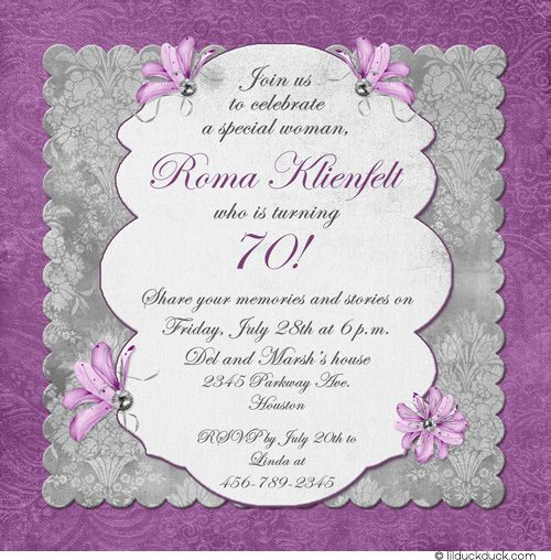 sweet memories 70th birthday invitation | 70th birthday, Birthday invitations