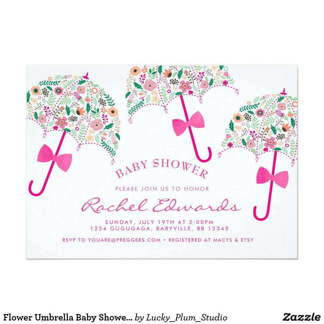 Flower Umbrella Baby Shower Invitation   Mom and Kids Stuffs and ...