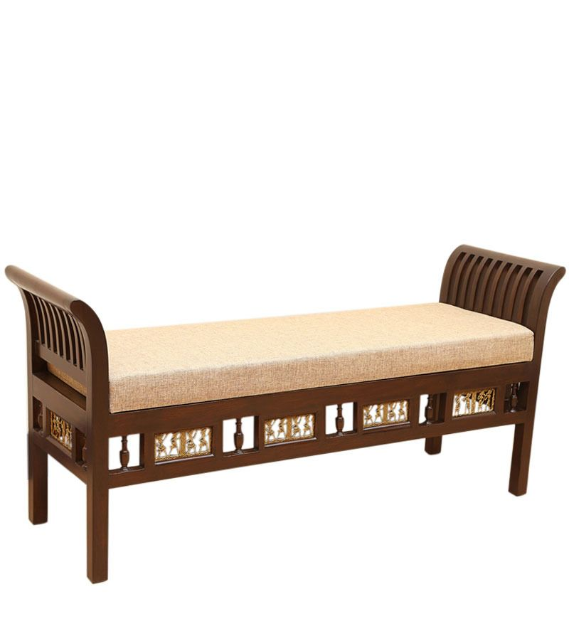 Teak Wood Royal Bench In Walnut Finish By Exclusivelane Bench Furniture Wooden Storage Bench Indian Living Rooms