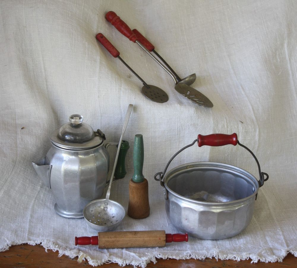 Vintage aluminum wood handled kitchen tool play toy set coffee utensils pin unknown