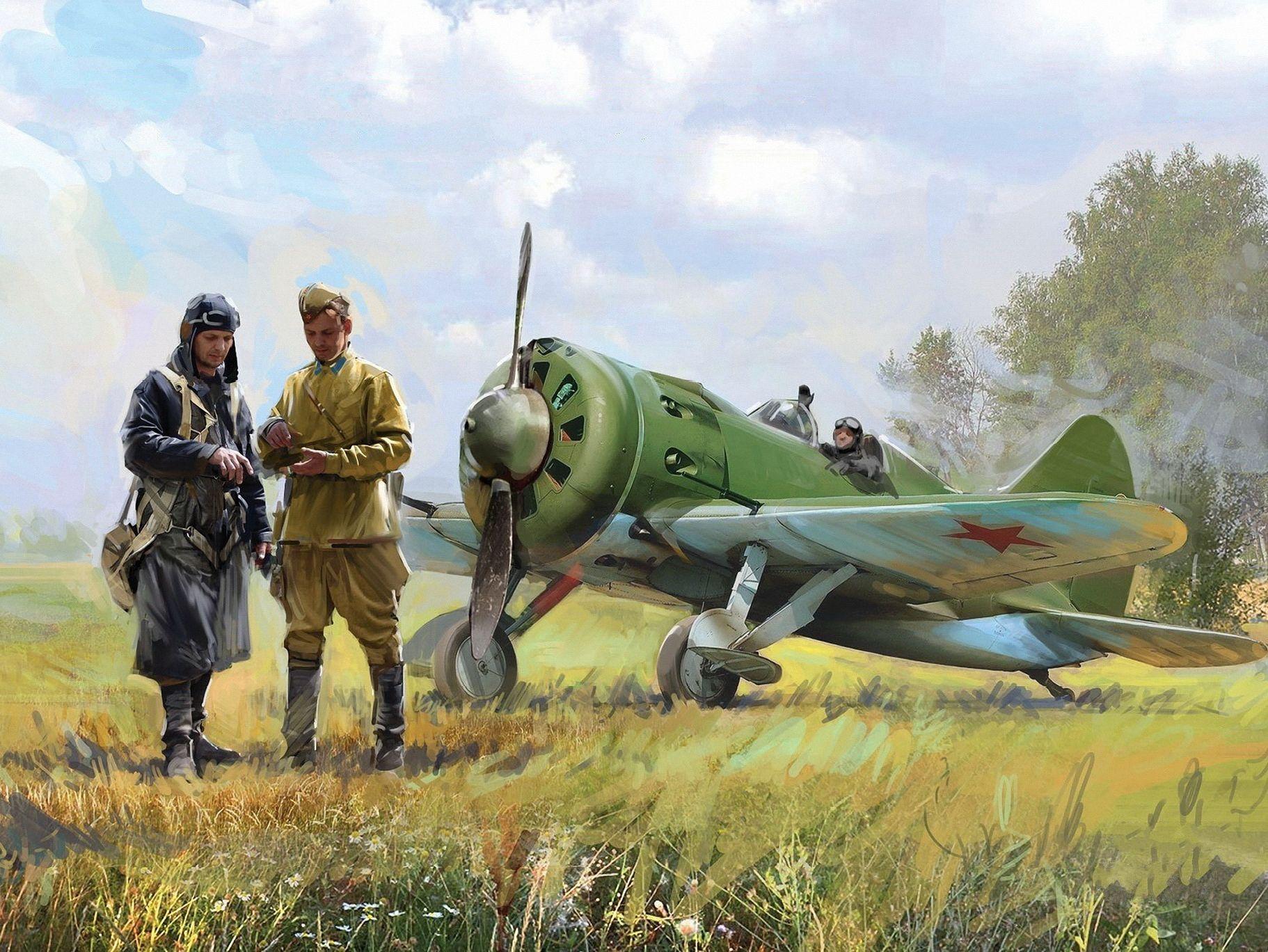 Обои Вторая мировая, истребитель, британский, spitfire, пилоты, рисунок. Авиация foto 8