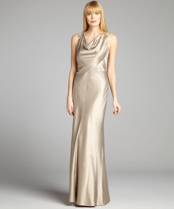 Cowl Neck Satin Wedding Dresses: Kay Unger : Gold Satin Cowl Neck Sleeveless Embellished
