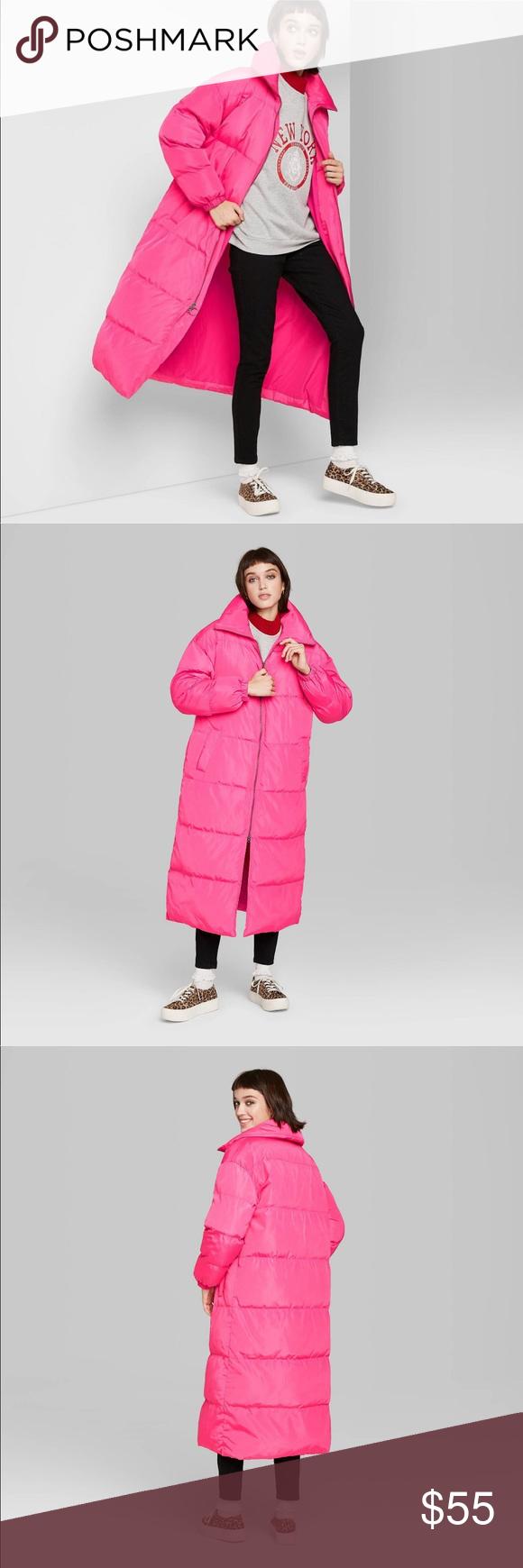 Wild Fable Long Sleeve Zip Up Puffer Coat Puffer Coat Coat Zip Ups [ 1740 x 580 Pixel ]