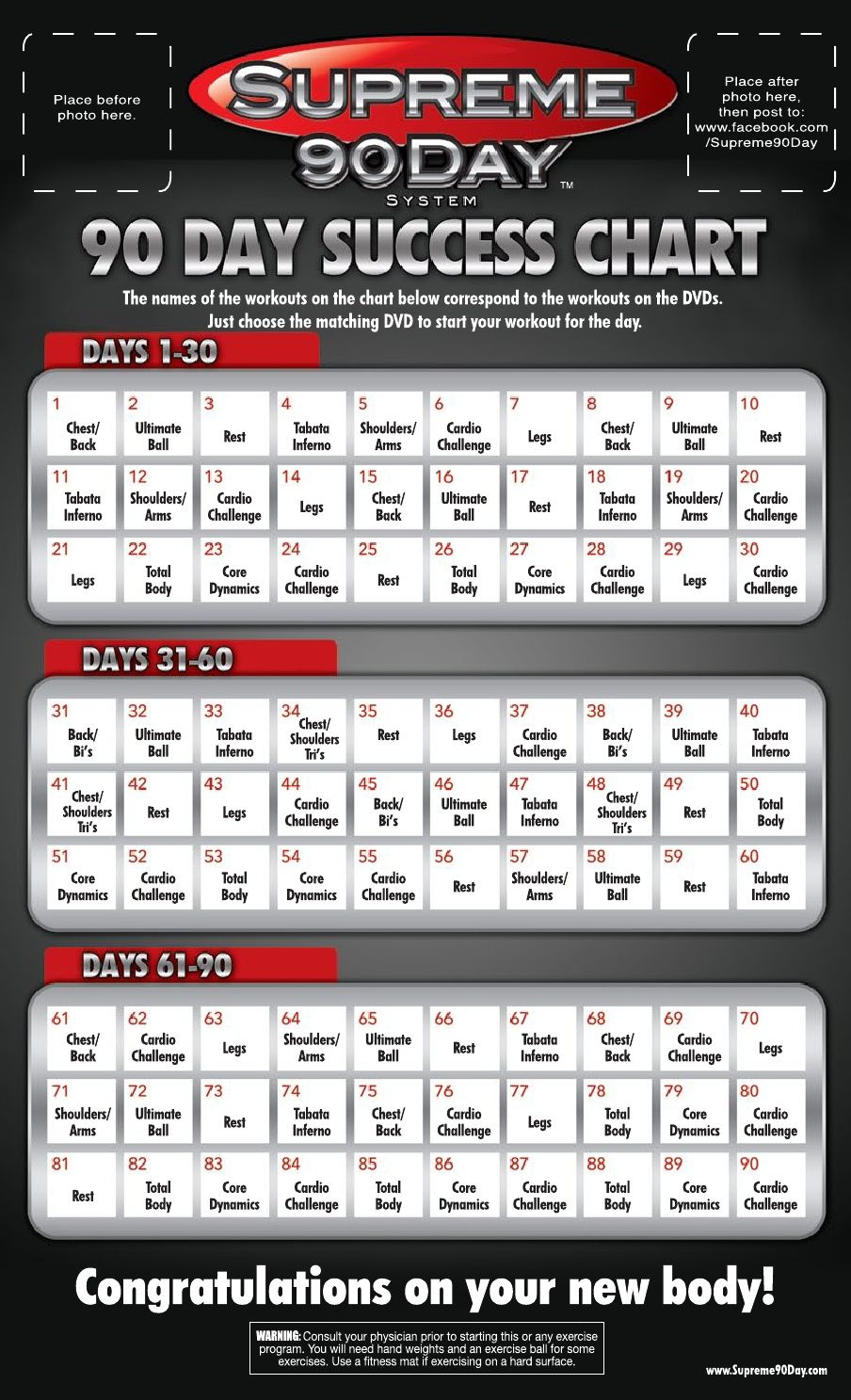 Supreme 90 Day WorkOut Schedule with Time | 90 day workout plan...