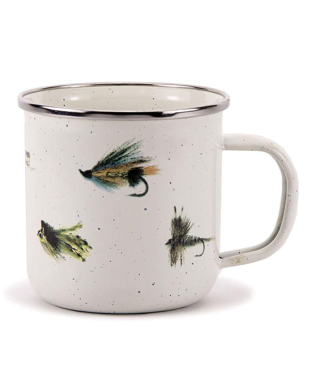 Fishing fly mug fathers day dad mugs enamelware