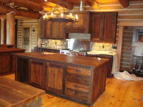Custom Rustic Kitchen Islands barn wood countertop | custom barn wood cabinet with barn wood