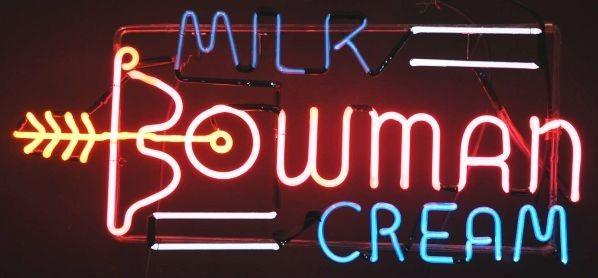 Bowman's Ice Cream Arrow Neon Sign.