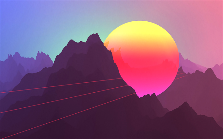 Download Wallpapers 4k Bright Sun Mountains Sunset