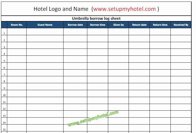 Restaurant Manager Log Book Template Fresh Concierge Umbrella Borrow Log Book Tracking Sheet Format Book Template Restaurant Management Management