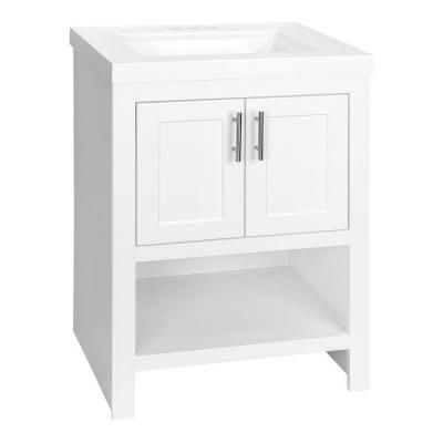 Spa 24-1/2 in Vanity in White with Cultured Marble Vanity Top in