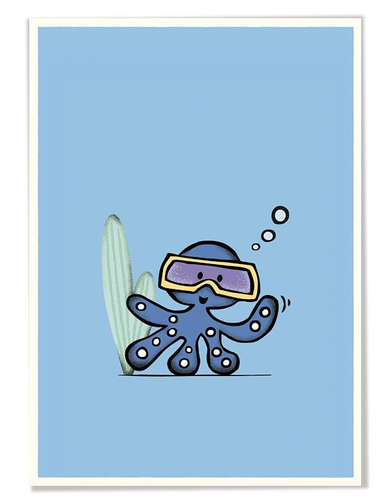 Nursery Poster with Octopus Poster kinderzimmer