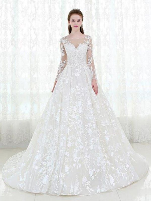 ac797947ef8 White long sleeve A-line Vintage Marriage Special Lace Design Tulle Sleeves  Wedding Dress  ddaydress  Whitelongsleevedress a line wedding dress ...