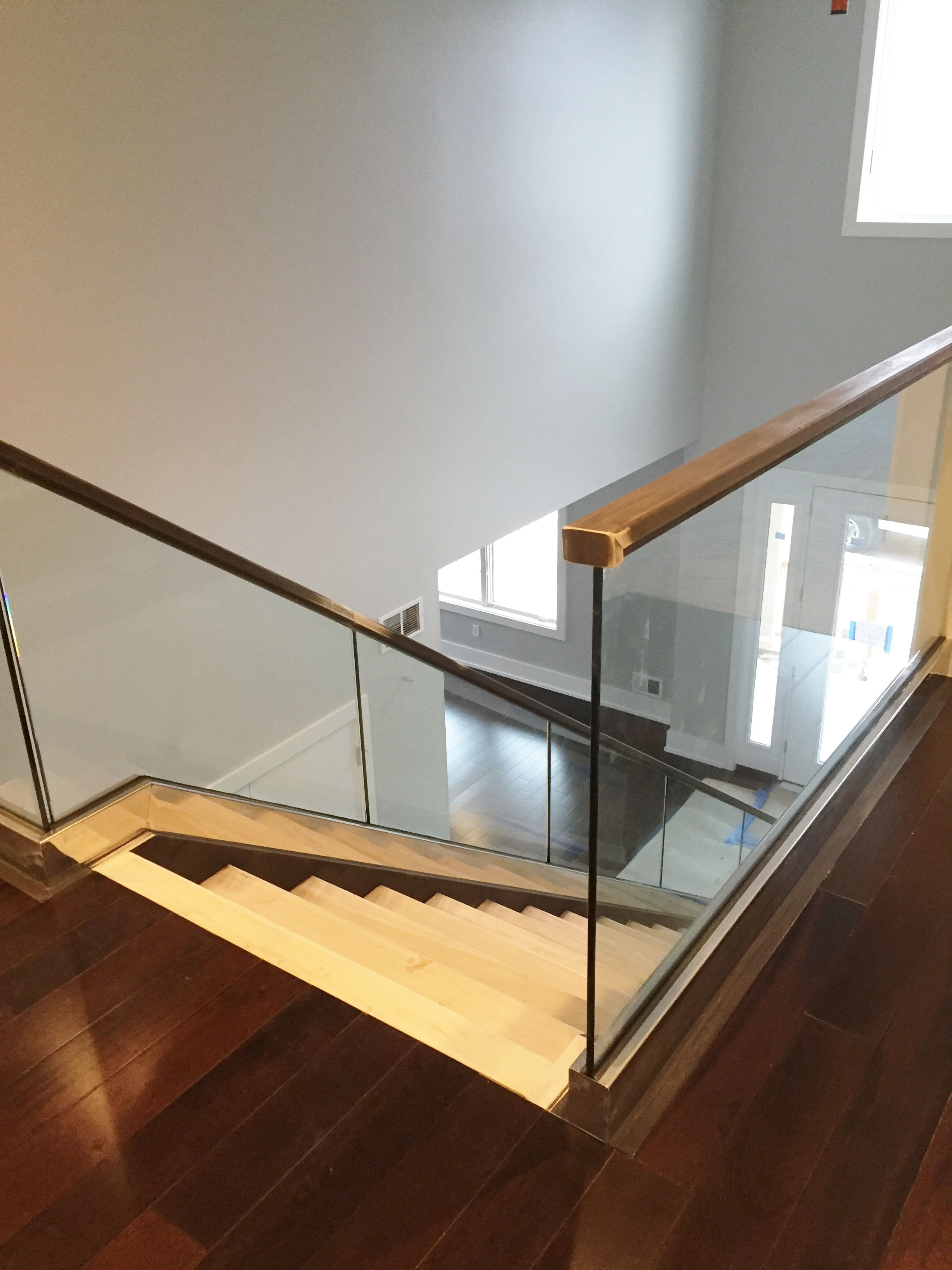 Glass Railing System Furnished Installed By Rex Glass Mirror | Indoor Stair Railings Home Depot | Metal | Interior | Deck Stair | Aluminum Railing | Iron Stair