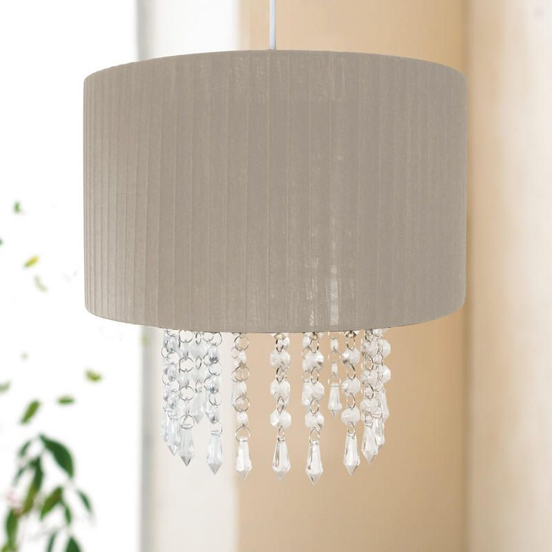 Easy fit chandelier light lamp shade fitting with acrylic crystal easy fit chandelier light lamp shade fitting with acrylic crystal droplets taupe mozeypictures Image collections