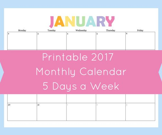 5 day a week monthly calendar printable Printable Planner - printable monthly calendar sample