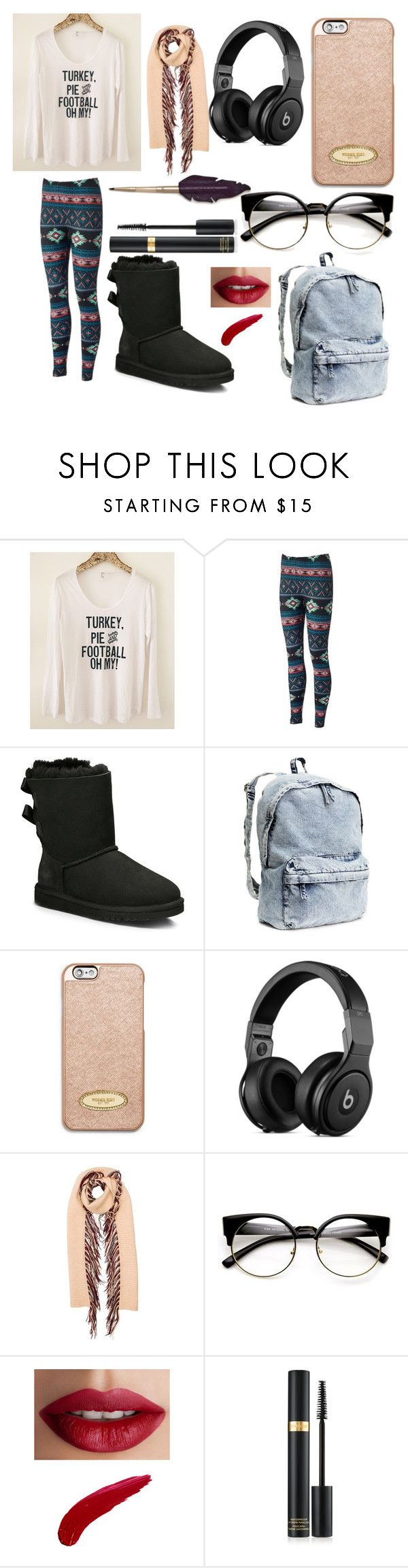"""Casual School Day #7"" by xxmonnyxx on Polyvore featuring UGG Australia, H&M, MICHAEL Michael Kors, Burberry and TheBalm"
