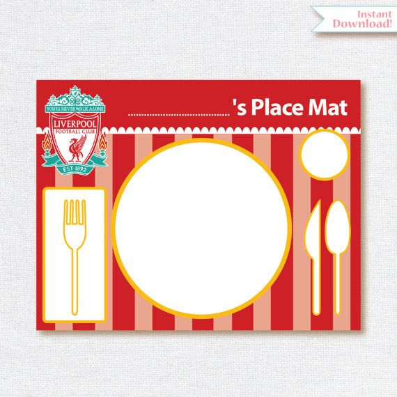 Liverpool Printables Printable Soccer Place Mat Liverpool Decoration Liverpool Place Mat Instant Download Soccer Party Liverpool Party Printables