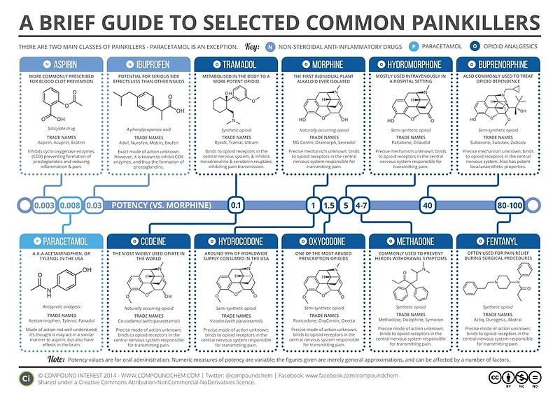 Guide To Common Painkillers Poster By Compound Interest In 2020 Medicinal Chemistry Chemistry Science Chemistry