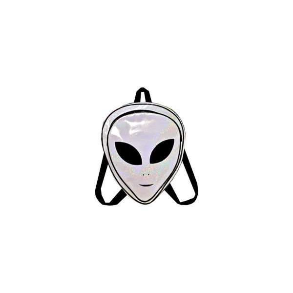 HOLOGRAM ALIEN BACKPACK ($75) ❤ liked on Polyvore featuring bags, backpacks, accessories, fillers, knapsack bag, hologram bags, backpack bags, day pack backpack and holographic bags