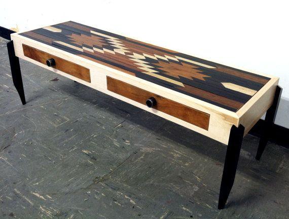 Bullhead Xvi Rustic Modern Coffee Table Native American Indian Inspired Reclaimed Wood Inlay Country Furniture
