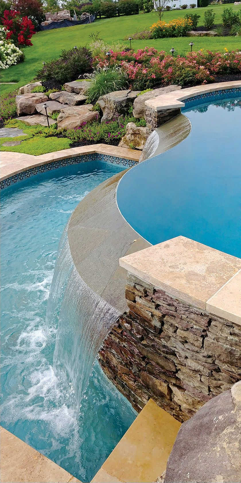 A serpentine, infinity-edge pool in Aldie, Virginia ... on Colao & Peter Luxury Outdoor Living id=34695