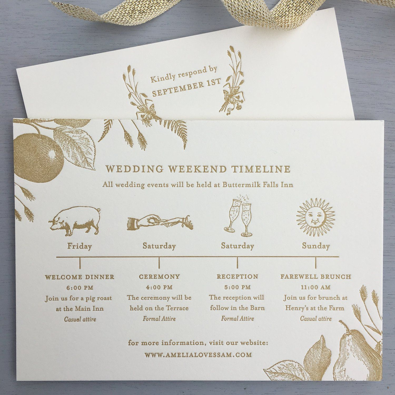 Our New Autumn Invitation Design In Matte Gold Ink We Love This Sweet Timeline Of Events With Wedding Invitations Wedding Stationery Wedding Weekend Itinerary