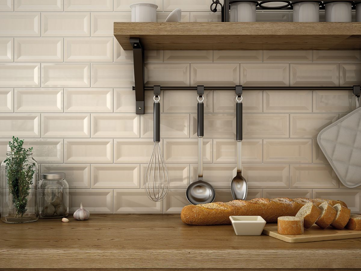 Inverted beveled wall tiles, perfect for kitchens. In beige. From ...