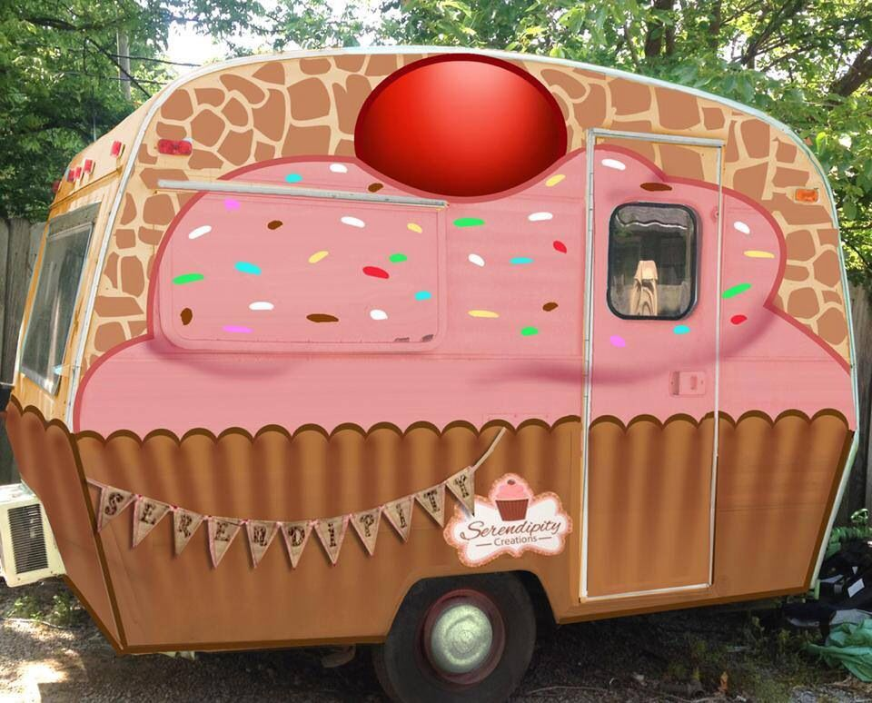 cupcake caravan camper trailor, cute idea for a cake tea shop on the go :)