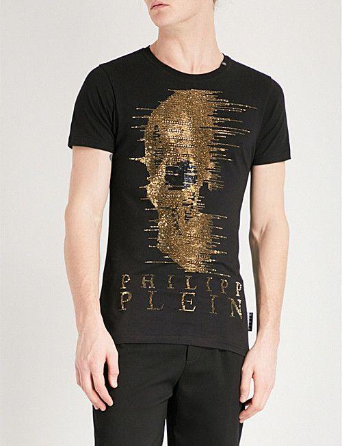 PHILIPP PLEIN Ghost-S cotton-jersey T-shirt  menst-shirtscasual ... 522e4fb95521b