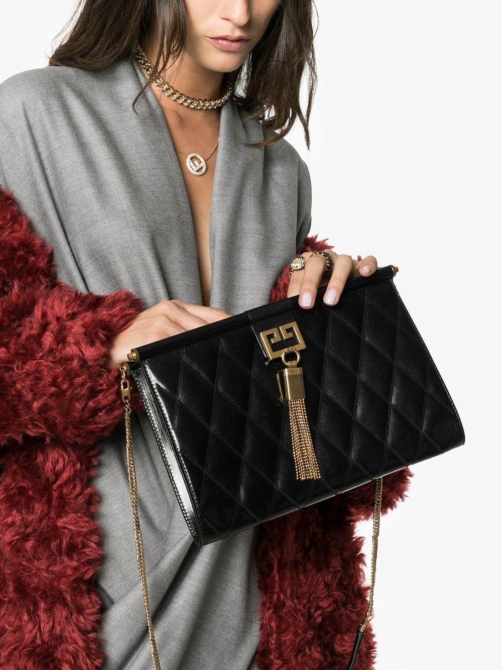 5158277e1b  givenchy  bags  gem  clutch  black  gold  chain  woman