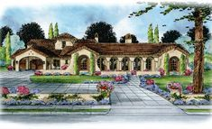 Plan DB Luxury 5 bed Tuscan Villa with Cathedral Ceilings and a Porte Cochere