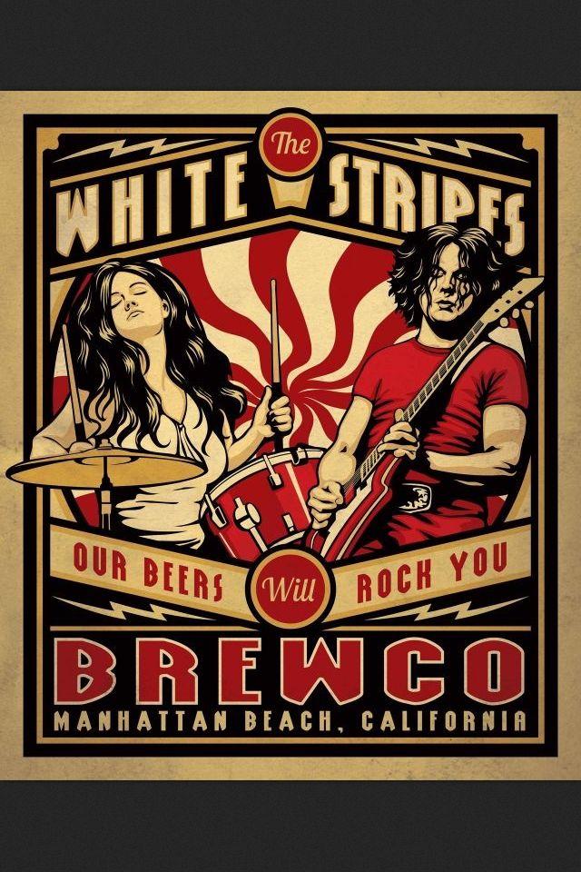Poster #craftbeer #whitestripes affiche concert musique illustration