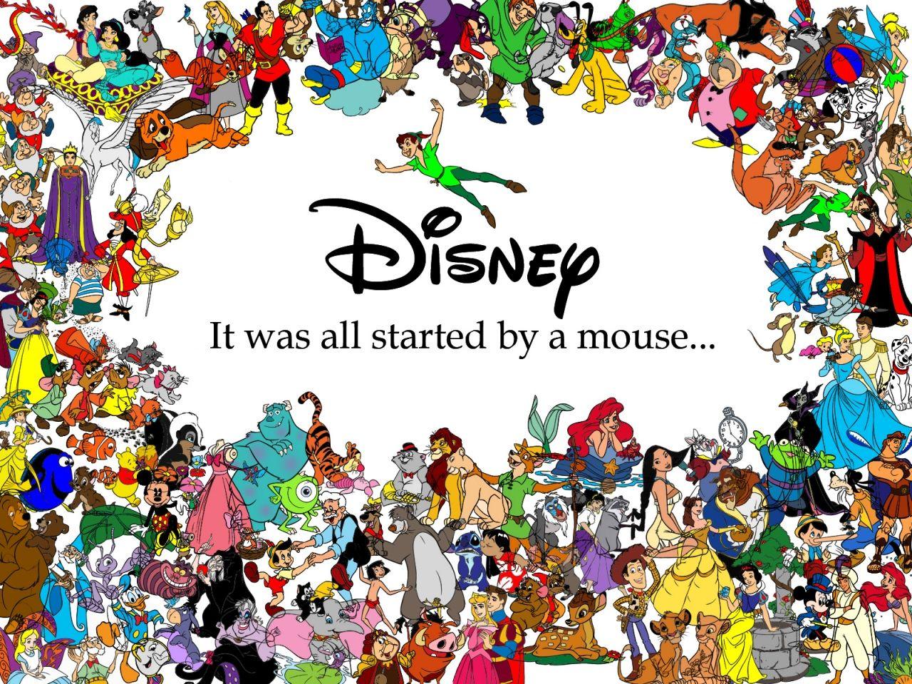 Superb Walt Disney Cartoons Characters Background 1 HD Wallpapers TODO ESTO  COMENZO POR UN RATON.. Disney Princess QuotesFamous ...