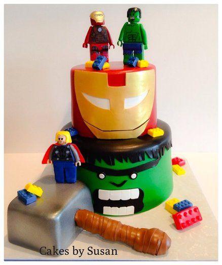 Avenger Lego Cake ~ Iron man, hulk, and Thor lego people made from gumpaste