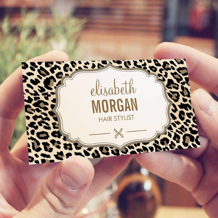 Hair Stylist Scissors Elegant Cream Leopard Print Business Card ...